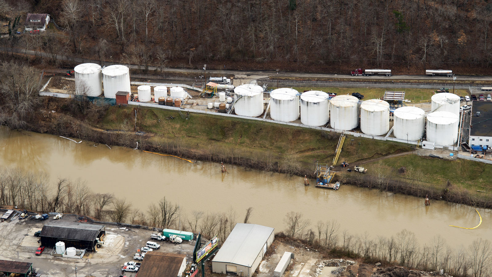 <h4> Industrial chemicals</h4> <h5>A tank rupture at this Freedom Industries plant in West Virginia spilled up to 7,500 gallons of the chemical MCHM into the Elk River, poisoning residents and interrupting the water supply of 300,000 people.</h5><em>U.S. Chemical Safety Board</em>